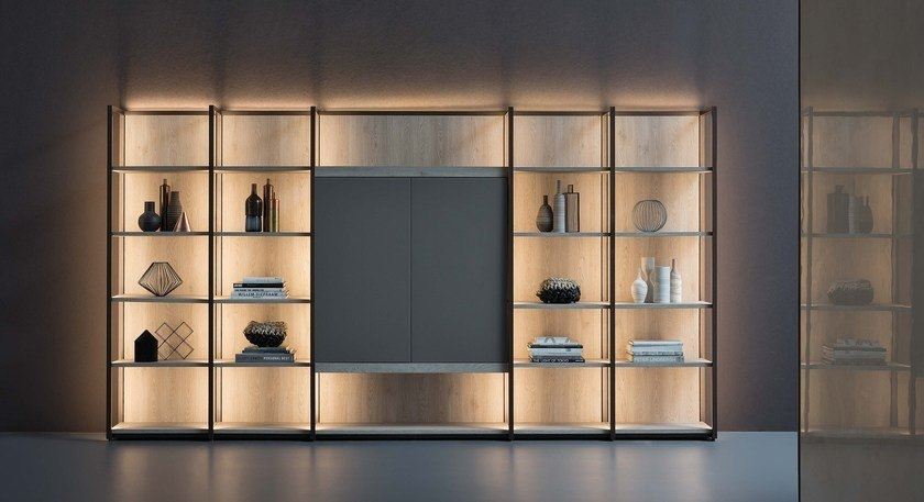 bookcase with built-in lights