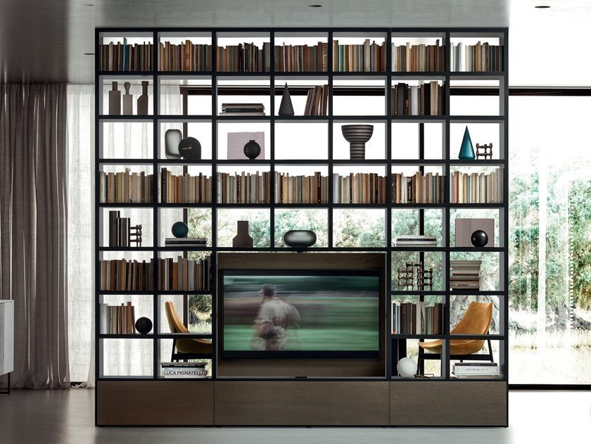 bookcase with TV stand