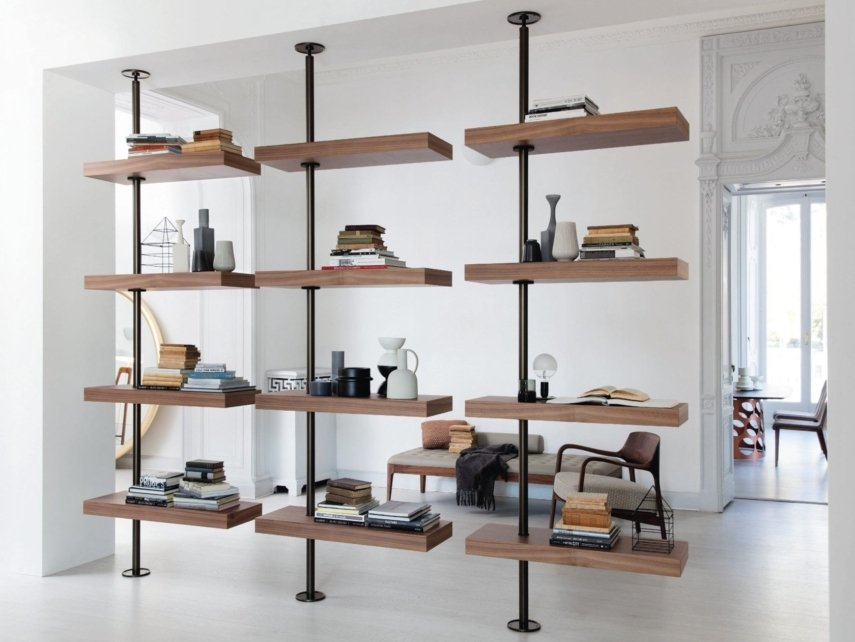 floor-ceiling mounted bookcase